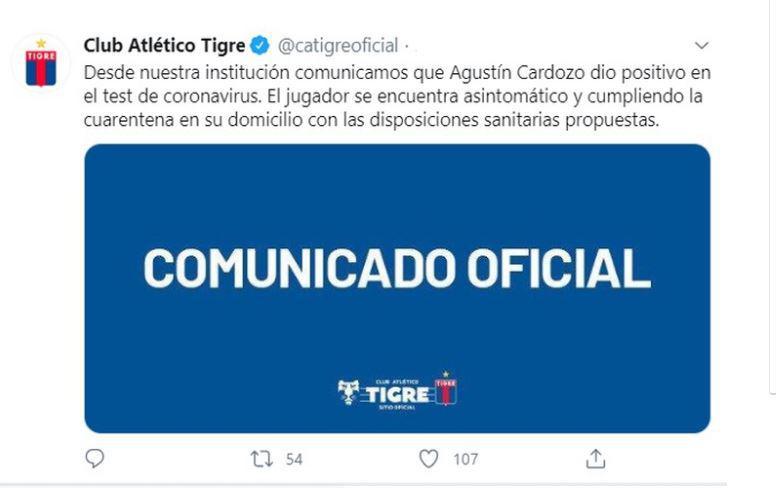 Tigre Comunicado COVID19 TWITTER