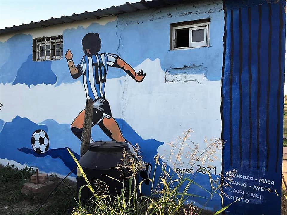 Mural Maradona Escuelita Los Tigres Villa Minetti 2